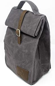 Insulated Waxed Canvas Lunch Bag For Men, Women | Perfect For Work. Professional, Practical & Stylish | Reusable. Keeps Food Cold. Easy To Carry (Slate Gray)