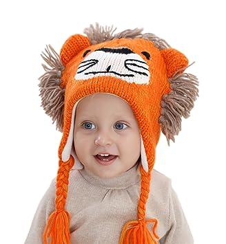 Superora Bonnet Chapeau Bebe Garçon Bebe Fille Animaux Mignon Laine Tricoté  Protection Oreille Hiver pour 1 309806b4552