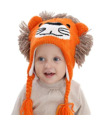 9150082aabf9f2 Sumolux Boys Winter Earflap Beanie Hat Knitted Animal face Lion Hats for  1-3T