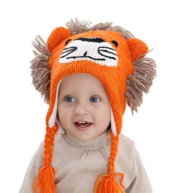 72e43dce6c3 Sumolux Boys Winter Earflap Beanie Hat Knitted Animal face Lion Hats for  1-3T