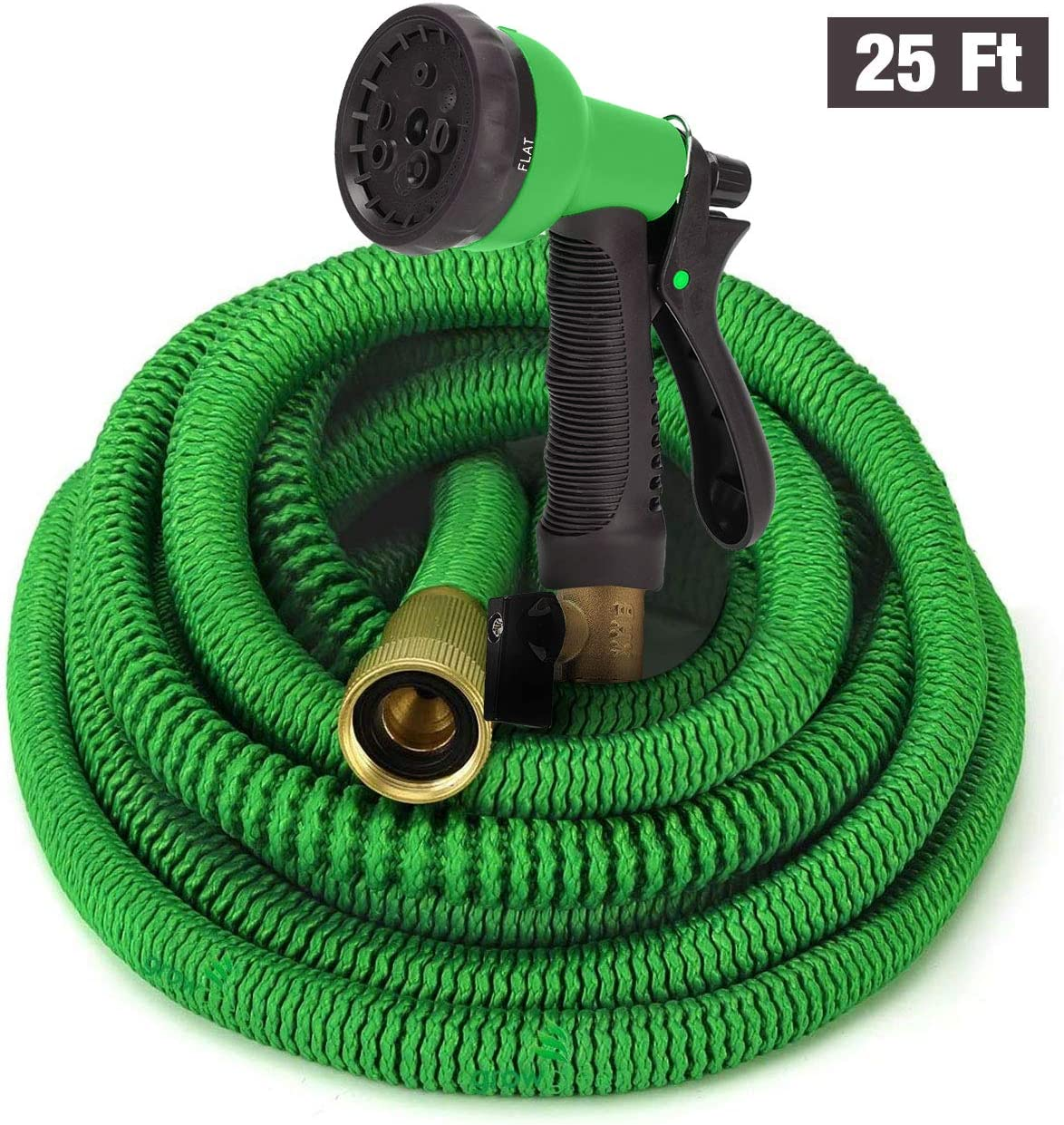 GrowGreen Garden Hose, Expandable Garden Hoses, Water Hose with High Pressure Hose Spray Nozzle, Flexible Garden Hose with All Brass Connectors, Leak Proof, Durable, Heavy Duty Material (25 Feet)