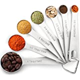 1Easylife 18/8 Measruing Spoons Stainless Steel Set of 7, Including 3/4, 1/2 and 1/8 Teaspoons for Dry and Liquid Ingredients