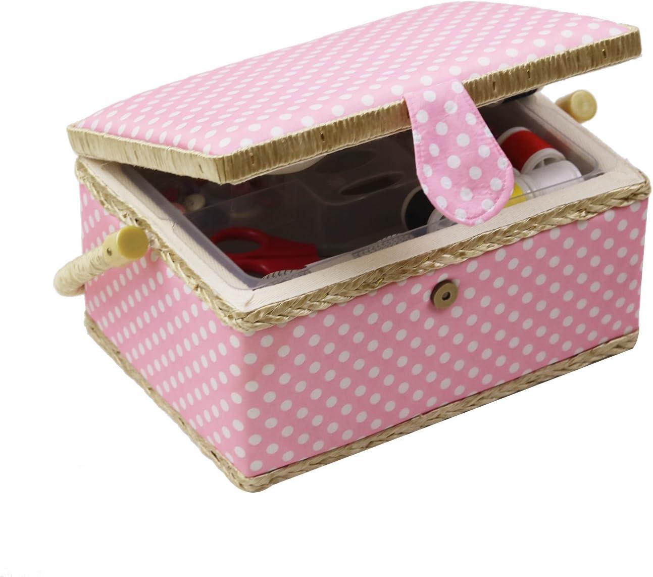 coser kits regalo Medium rosa D /& D caja de costura cesta organizador con accesorios hogar caja de costura Kit de costura b/ásicos para hogar y viaje