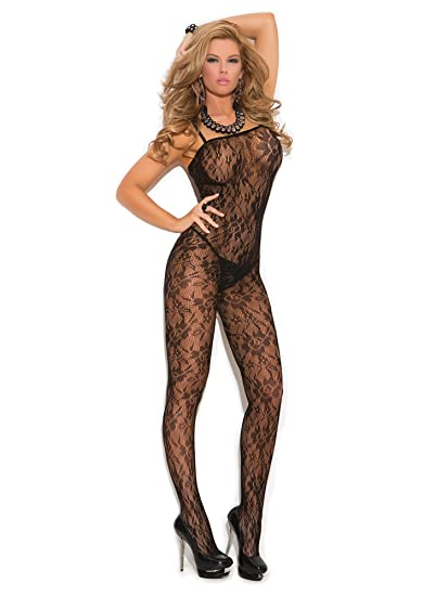 d63b4ee3901 Amazon.com  Elegant Moments Women s Rose Lace Bodystocking with Open  Crotch  Adult Exotic Lingerie Bodystockings  Clothing