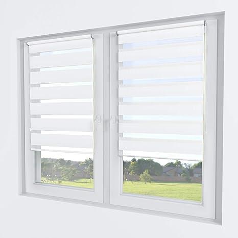 Klemmfix Doppelrollo Duo Rollo mit Blende Fenster Tür Jalousie Seitenzugrollo