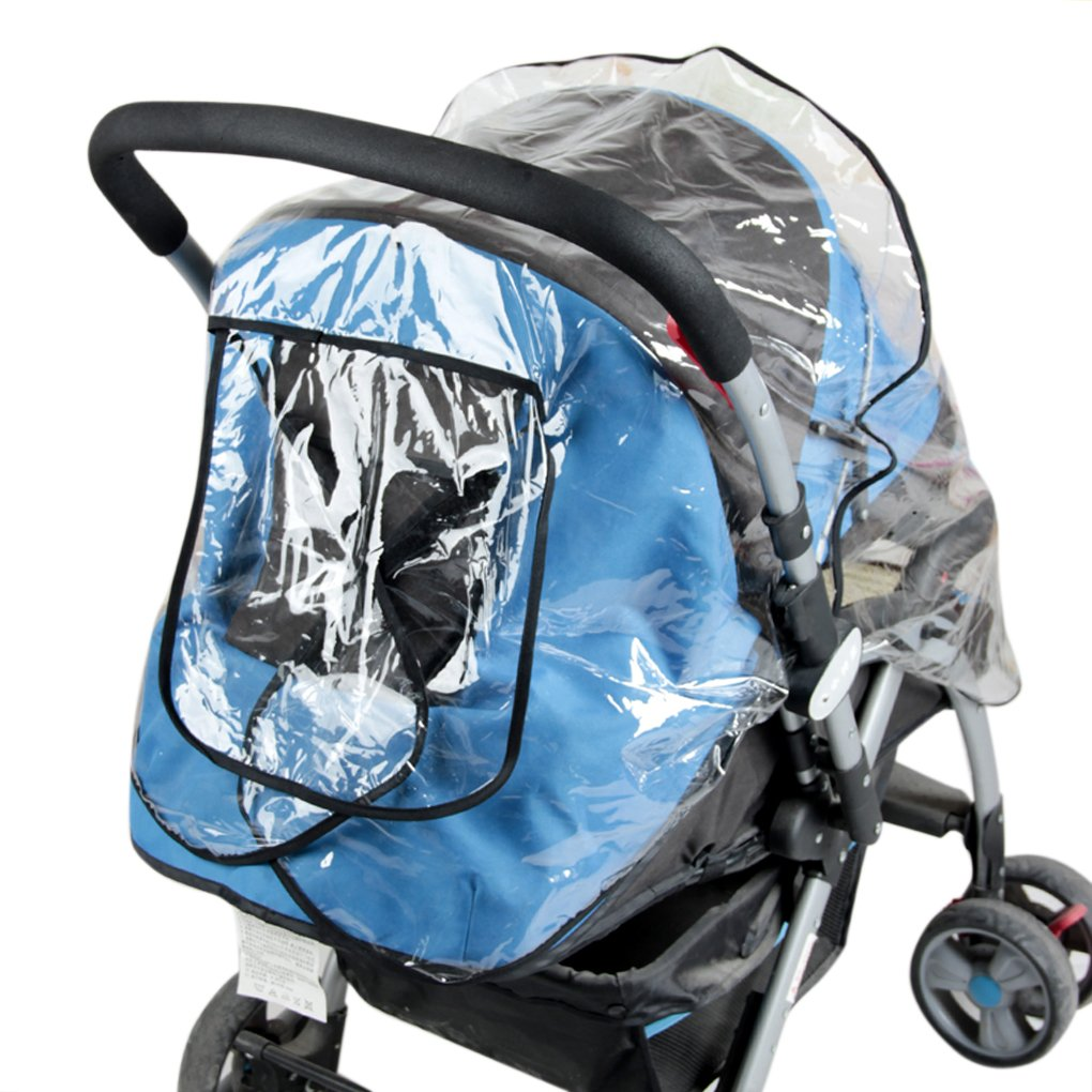 Universal Twins Tandem Stroller Raincover Rainproof Dustproof Windproof Pushchair Stroller Buggy Pram Large Throw Over Rain Cover Windshield with Canopy and Zipper Door for Double Carrycots Prams