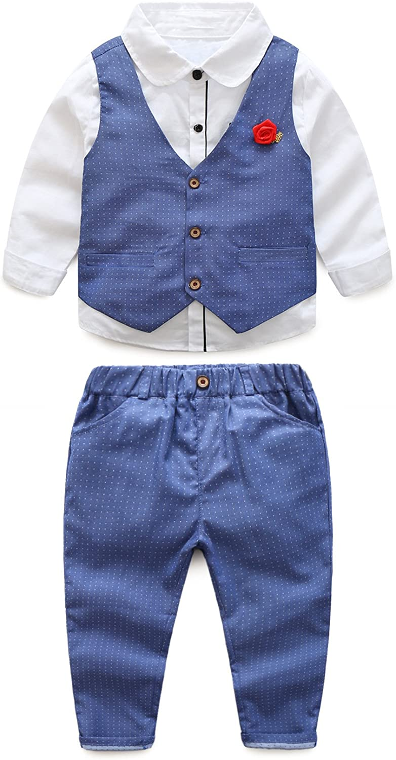 3pcs Toddler Baby Boys Denim Style Long Sleeve T-shirt+Pants+Vest Gentleman Set
