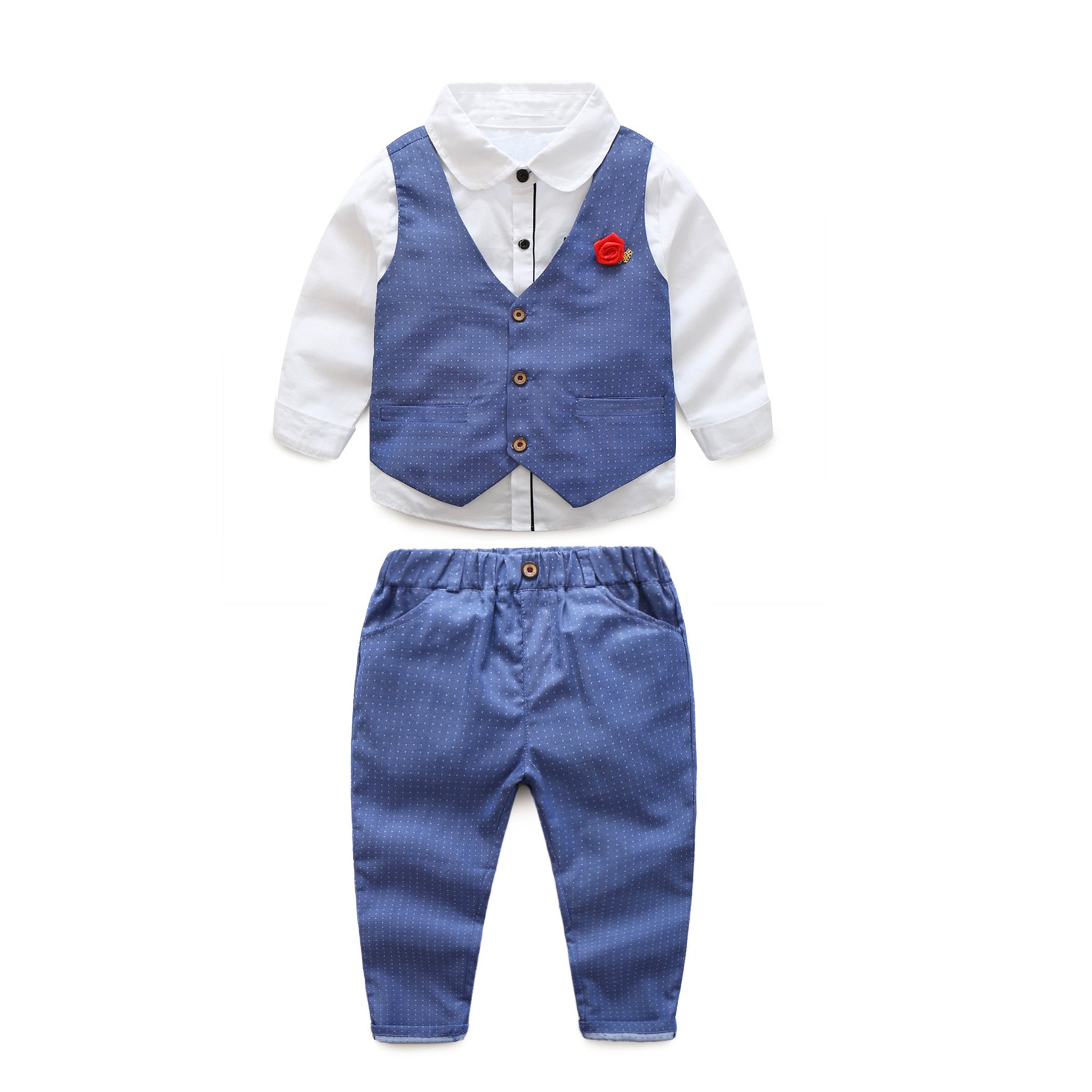 JIANLANPTT 3Pcs Little Kids Baby Boy's Gentelman Set Long Sleeve T-Shirt Tops Waistcoat Pants Blue 110