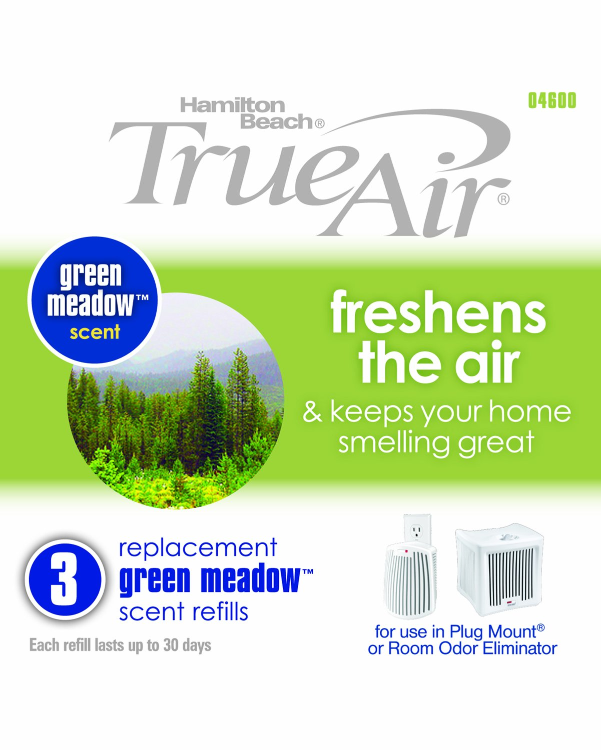 Amazon.com: Hamilton Beach Replacement Green Meadow Scent Refills for  TrueAir Plug Mount 04531GM and Odor Eliminator 04532GM (04600): Home &  Kitchen