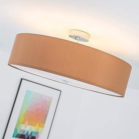 Lightbox LB00000139 – Lámpara de techo moderna con pantalla textil (3 focos, Ø 60 cm, 3x E27 máx. 60W, realizado en metal y textil) Color cromo ...