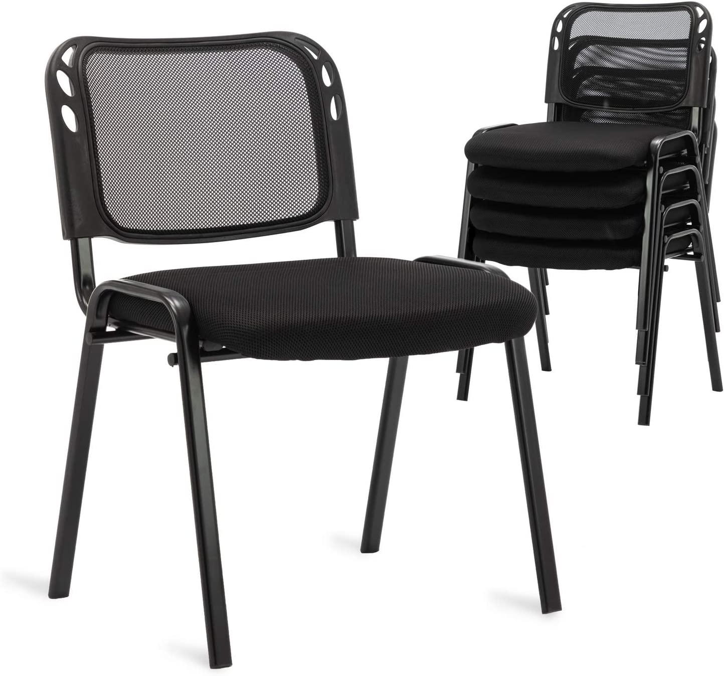 Set of 5 Stackable Conference Chairs, Mesh Back Stacking Guest Chairs, for Office, Business Lobby, Reception Area, Hotel, Conference Room, Seminars, Training Room, Community Centers and Home, Black