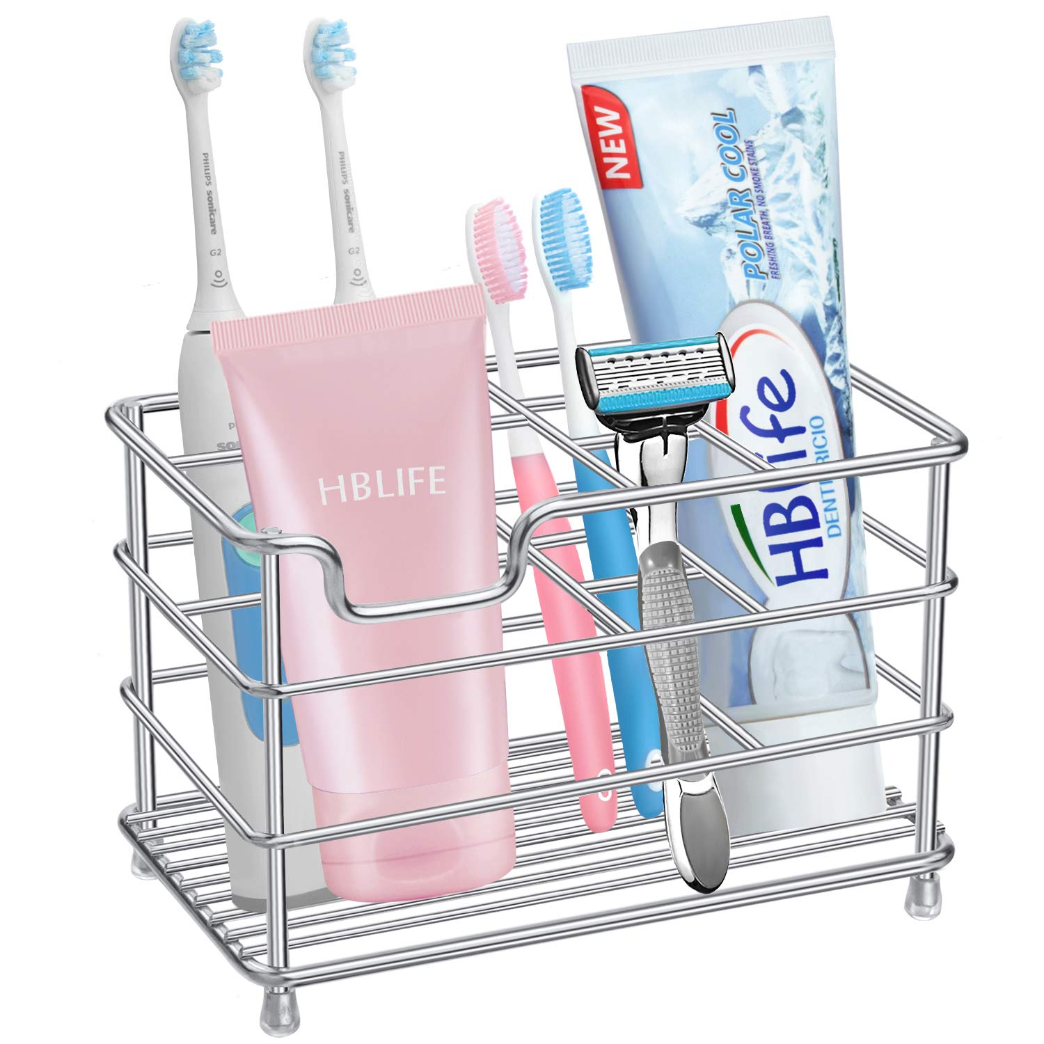 hblife Electric Toothbrush Holder, Large Stainless Steel Toothpaste Holder Bathroom Accessories Organizer, Sliver by hblife