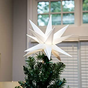 Elf Logic Moravian Star Tree Topper - New 2019 Model NO Assembly Required. Beautiful Bright White 3D Lighted Christmas Star Tree Topper (12 Inch Folding, LED)