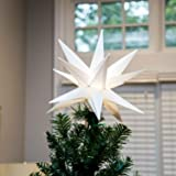 """Elf Logic Moravian Star Tree Topper 12"""" - New 2019 Model NO Assembly Required. Beautiful Bright White 3D Lighted Christmas St"""