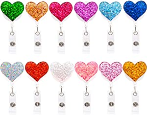 """Qinsuee 12 Pack Bling Heart Retractable Badge Reel, ID Badge Holder with Alligator Clip, Lightweight, 24"""" Easy Retracting Cord"""