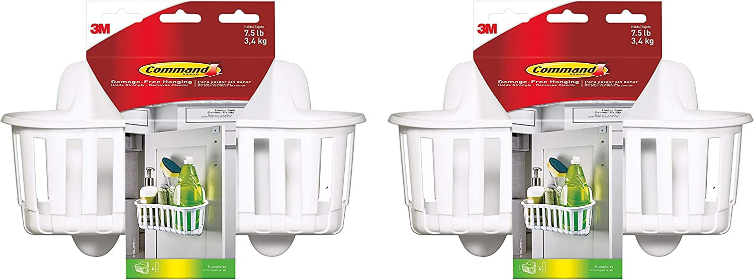 17604-HWES Pack of 2 1-Caddy Large Command Under Sink Cabinet Caddy