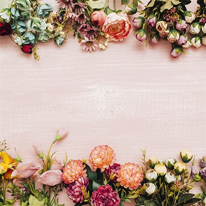 15x10ft Baby Shower Background Pink Flowers Wood Board Photography Backdrop Props for Wedding Studio Room Mural LYFU698