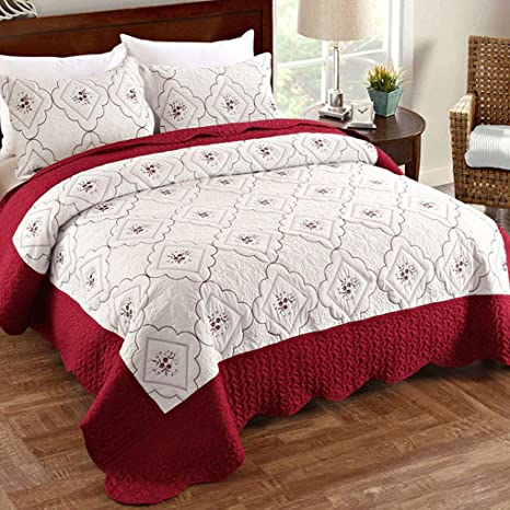 Amazon Com Vitale Bedspreads Coverlet Set 3 Piece Embroidered Quilts King Size With Pillow Shams Reversible Lightweight Bedspread For Summer Burgundy White Home Kitchen