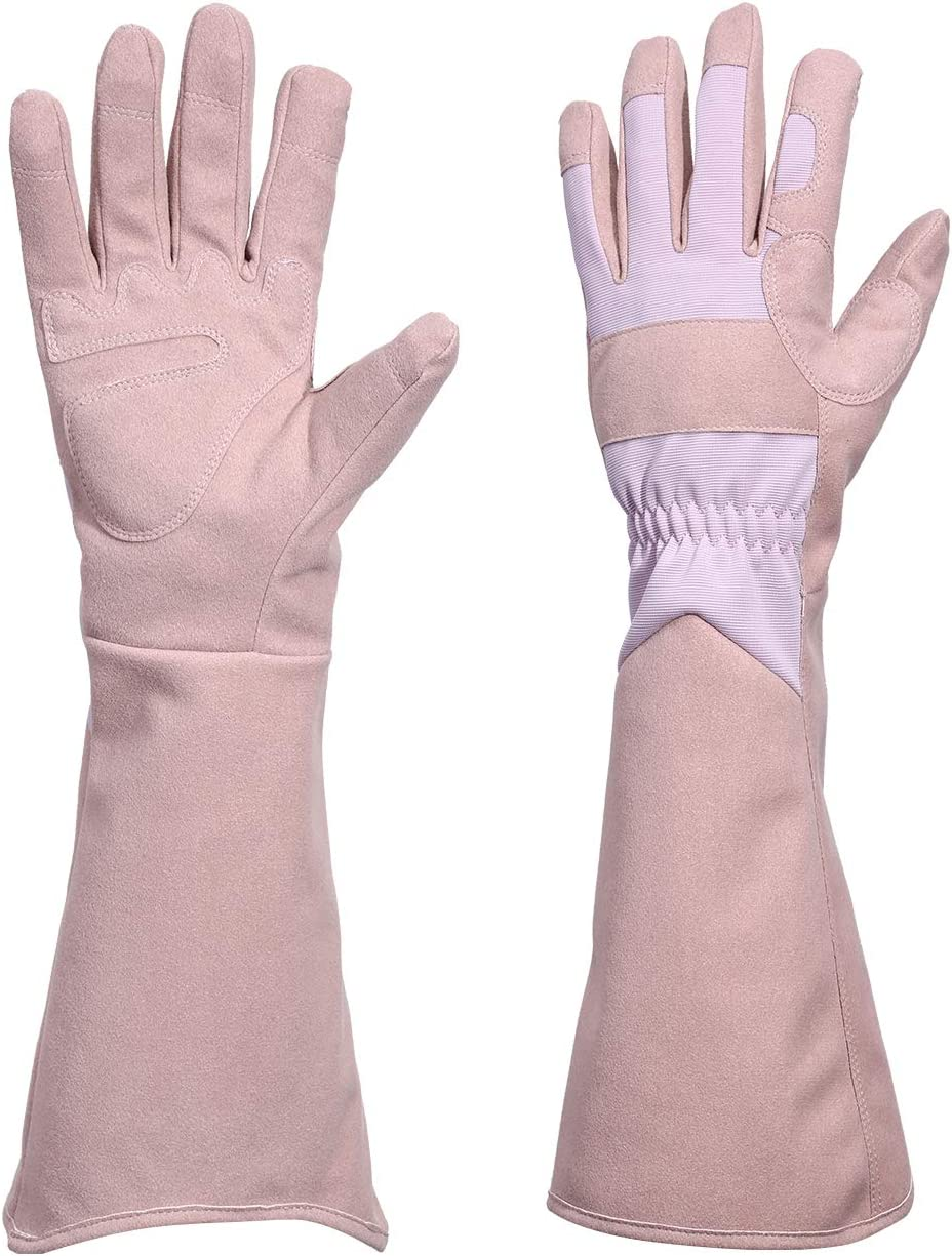 Geloo Garden Gloves Rose Pruning Thorn Resistant Heavy-duty Glove with Long Forearm Protection,Safety Yard Work Gloves for Gardener Puncture Resistant (1 Pair, Rosybrown & Pink)