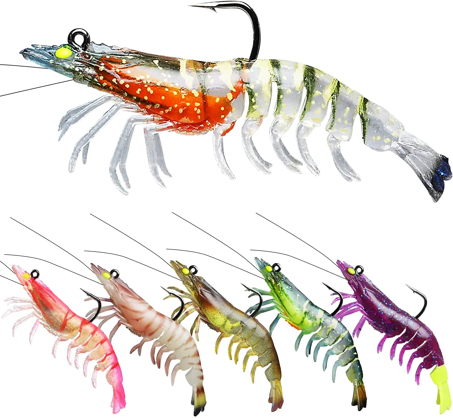 TRUSCEND Fishing Lures for Bass Trout 6PCS Jighead Shrimp Lures Paddle Tail Swimbaits Soft Fishing Baits Freshwater Saltwater Jigging Bass Fishing Lures : Sports & Outdoors