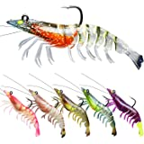 TRUSCEND Fishing Lures for Bass, Pre-Rigged Soft Shrimp Lures for Saltwater Fishing, Best Bottom Fishing Lure with VMC Hook,