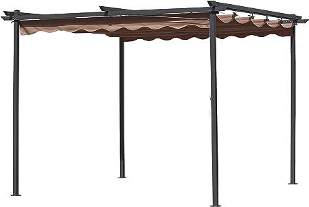 pergola mt.3 x 3 acero con funda cenador de jardín retráctil deslizante