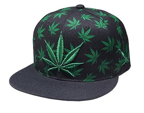 Marijuana Pot Leaf Weed Cannabis Embroidered Flat Bill Snapback Cap ... a5844edd627d