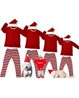 Matching Christmas Pajamas For Family And Dog Red And White Striped Pjs Sets Baby Cute Snowflake