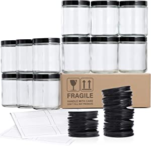 12 Pack, 8 OZ Glass Jars with Lids, Clear Round Candle Jars with 12 Metal Lids & 12 Plastic Lids - Empty Food Storage Containers, Canning Jar For Spice, Powder, Liquid, Sample - Dishwasher Safe