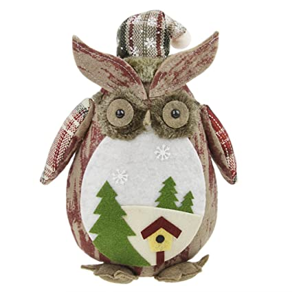 holiday christmas decor plush stuffed horned owl home animal figurine doll shelf tabel top ornament decorations