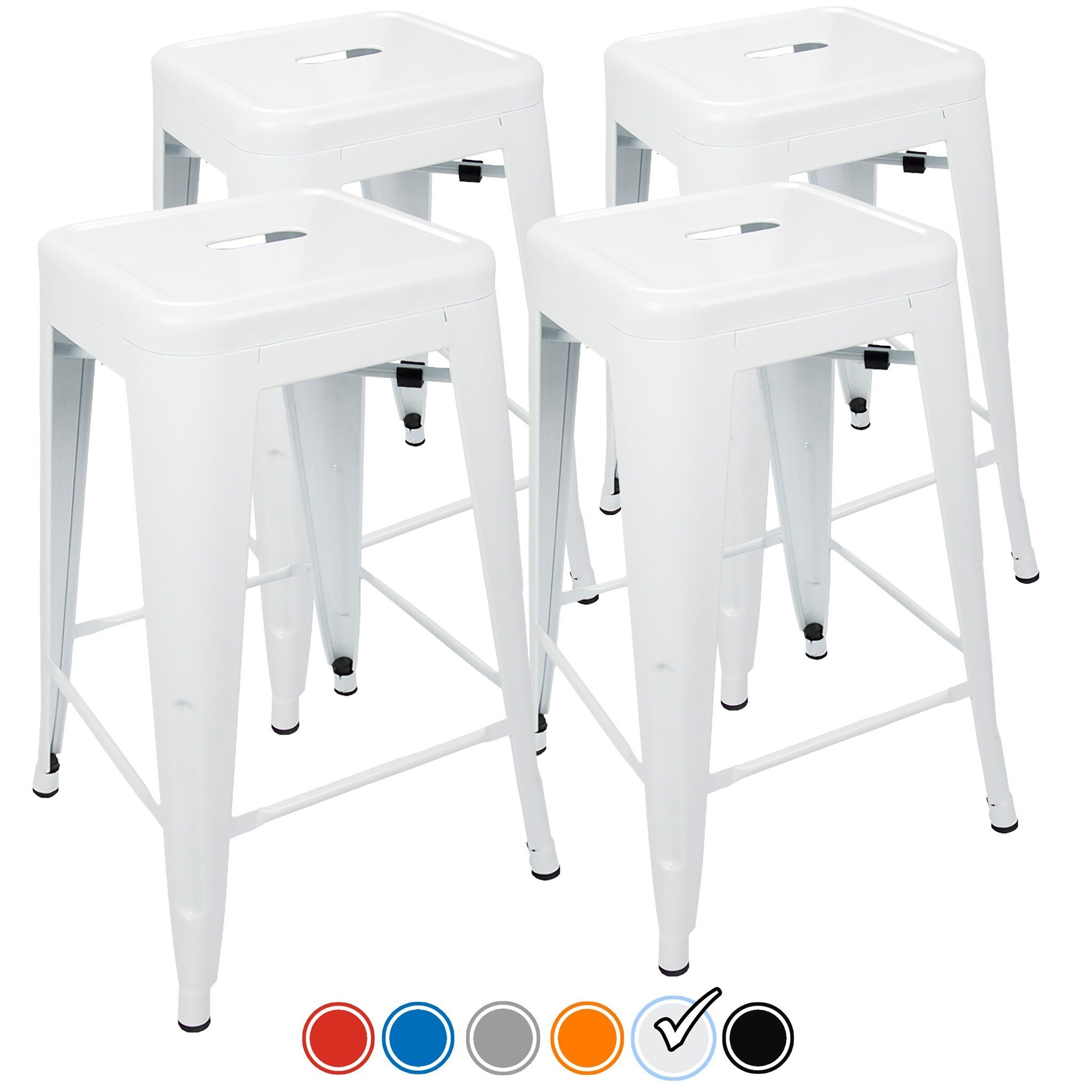 "24"" Counter Height Bar Stools,! (WHITE) by UrbanMod, [Set Of 4] Stackable, Indoor/Outdoor, Kitchen Bar Stools,! 330LB Limit, Metal Bar Stools! Industrial, Galvanized Steel, Counter Stools!"
