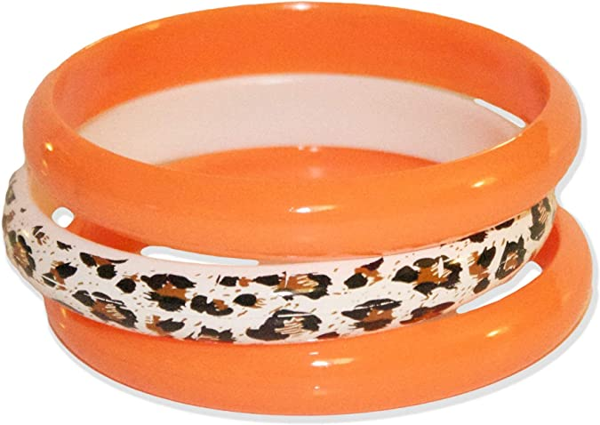 Vintage Style Jewelry, Retro Jewelry Neon Nation 3 Pack Bangles w/Cheetah Print 80s Style Bracelets $9.99 AT vintagedancer.com