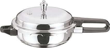 Vinod Cookware Induction Friendly Stainless Steel Sandwich Bottom Pressure Pan with Lid, 4 Litres