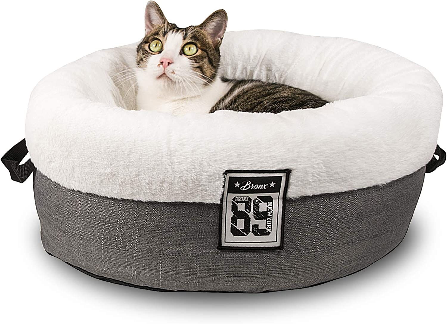 Qucey Cat Bed for Indoor Cats, 20 inches Round Count Cat and Dog Bed for Cats and Small Dogs, Machine Washable & Anti-Slip Bottom
