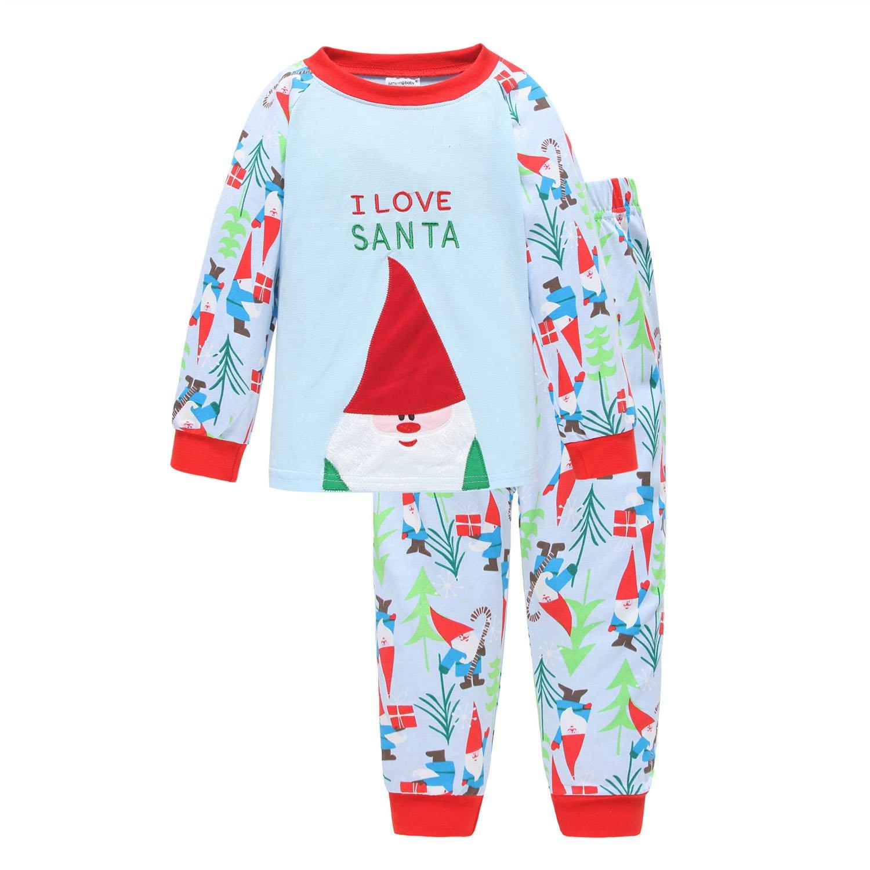 Little Boys Girls Kids Toddler Reindeer Christmas Pjs Sleepwear Cotton Pajamas Sets Bling Stars PS-01-9310-11