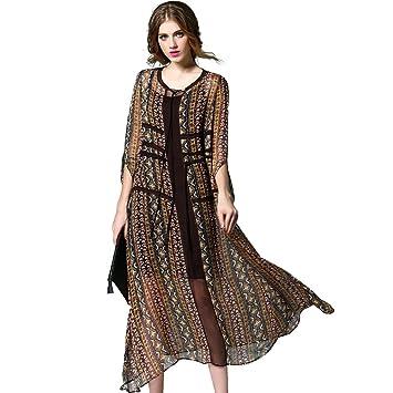 difaner mujeres de seda vestido de Bohemia Vintage Impreso étnica estilo gasa vestido largo para fiesta