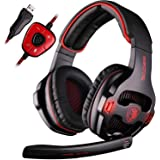 SADES SA903 7.1 Surround Sound Stereo Pro PC USB Gaming Headset Headband Headphones with Microphone Deep Bass Over-the-Ear Volume Control LED Lights For PC Gamers(Black)