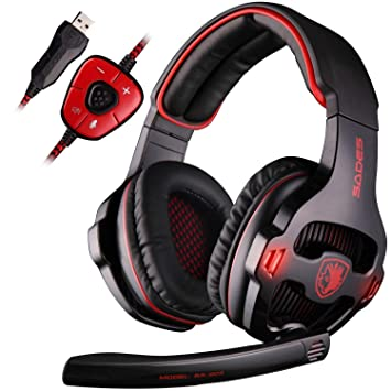SADES SA903 7.1 Surround Sound Stereo Pro USB de la PC Gaming Headset Auriculares Diadema con