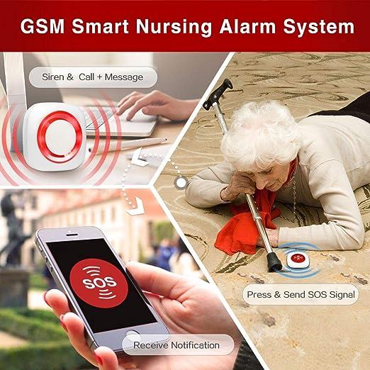Bot/ón de Llamada de Cuidador inal/ámbrico de 500 mAh Tarjeta SIM gsm port/átil Sistema de Alarma de Llamada de Emergencia SOS con Correa para Paciente Anciano
