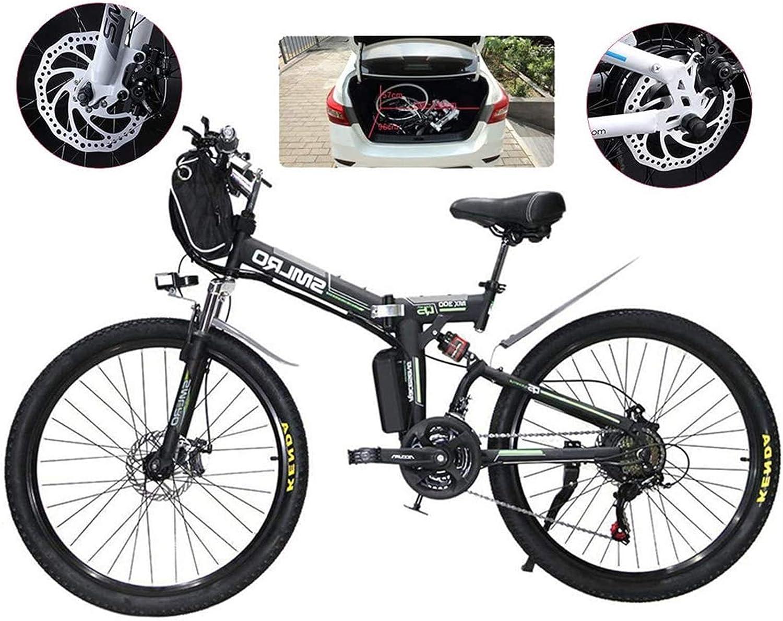 Bicicletas Eléctricas, Bicicleta eléctrica plegable de e-bicicleta, bicicletas de nieve de 500 vatios, 21 velocidades 3 Modo Pantalla LCD para adultos Suspensión completa 26