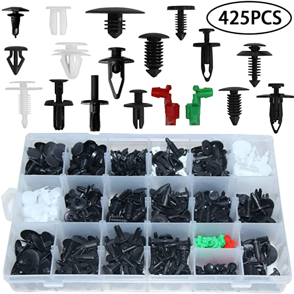 Auto Clips Car Body Retainer Assortment Clips Car Trim Fasteners Clips Tailgate Handle Rod Clip Push Rivets Plastic 19 MOST Popular Sizes Car Clips 425PCS For GM Ford Chevy Toyota Honda Chrysler (Color: 425pcs Car Body Retainer Assortment Clips)