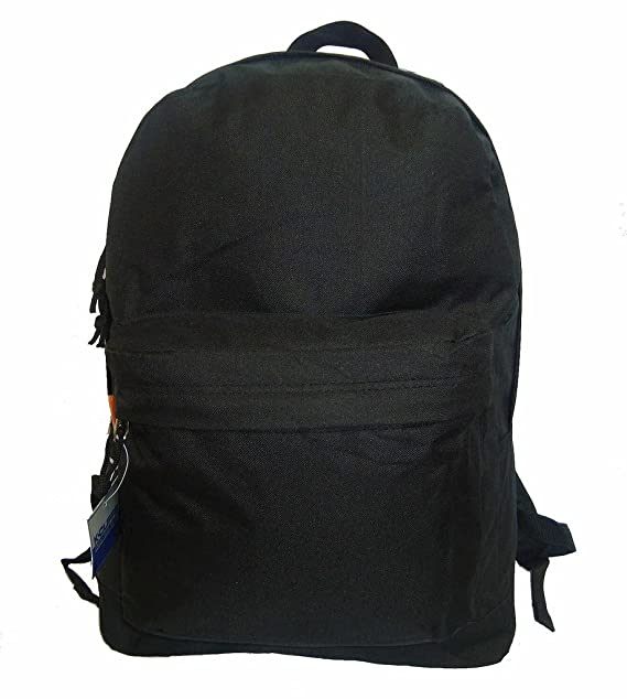 18in Classic Basic Backpack Simple School Book Bag w Padded Back Side  Pocket Blk f4e4db0e66260