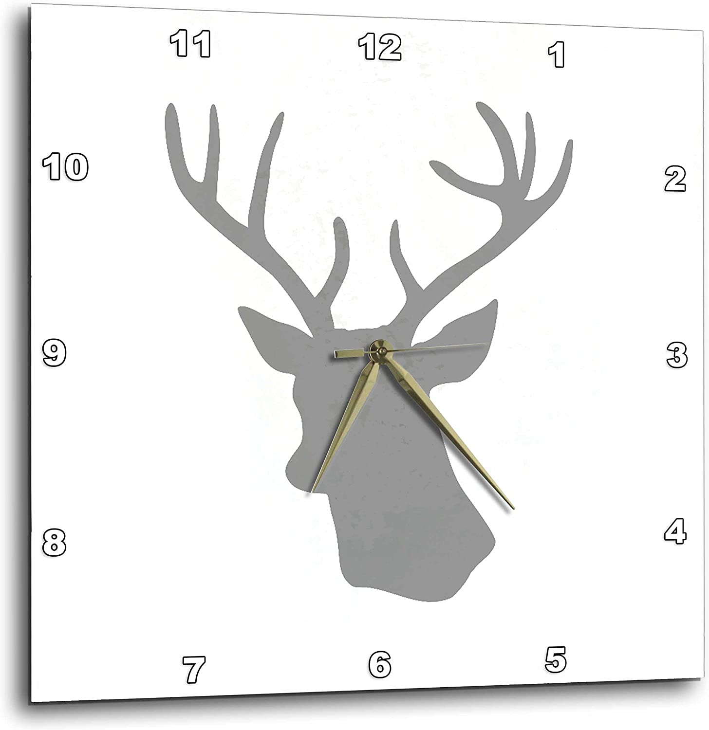 3dRose DPP_179695_3 Grey Deer Head Silhouette on White Modern Gray Stag with Antlers Wall Clock, 15 by 15-Inch