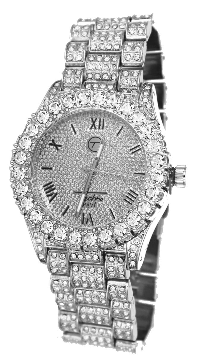 Totally Iced Out Pave Silver Tone Hip Hop Men's Bling Bling Watch (silver)