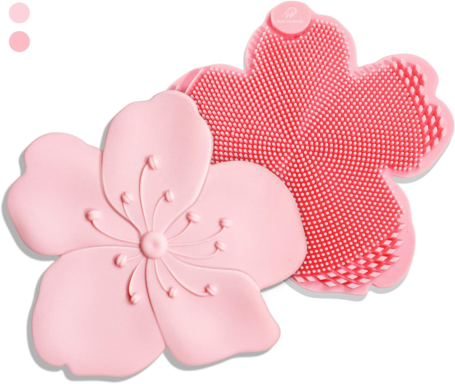 Silicone Dish Sponge and Scrubber, Multifunctional Magnetic Kitchen Sponge, 7 in 1 Reusable Sakura Shaped Silicone Cleaning Brush for Kitchen, Pink/Rose (2 Pack)