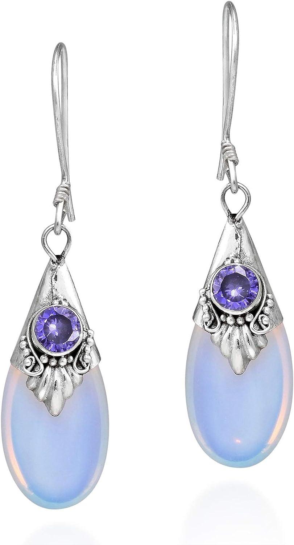 VTYILES Nueva Piedra de luna blanca Pendientes de plata esterlina S925 gota de agua cuelga pendientes joyería del oído