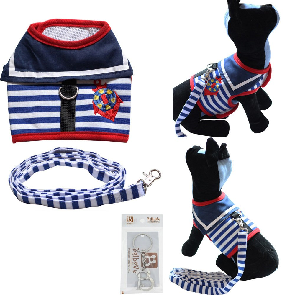 Bolbove Pet Sailor Stripes Vest Mesh Harness and Leash Set for Cats & Small Dogs (Medium, Blue)