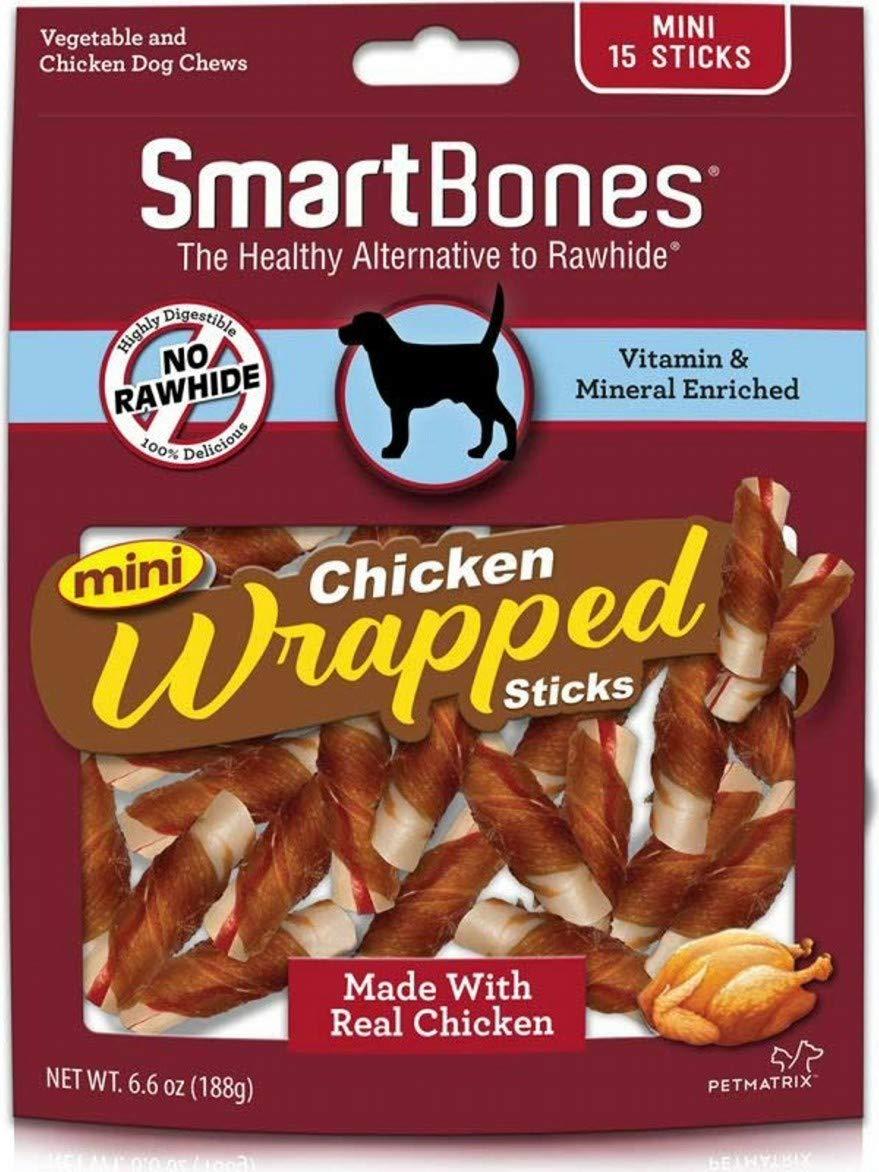 SmartBones Chicken Wrapped Sticks Dog Chews, Chicken, Mini, 15 Count, 24 Pack