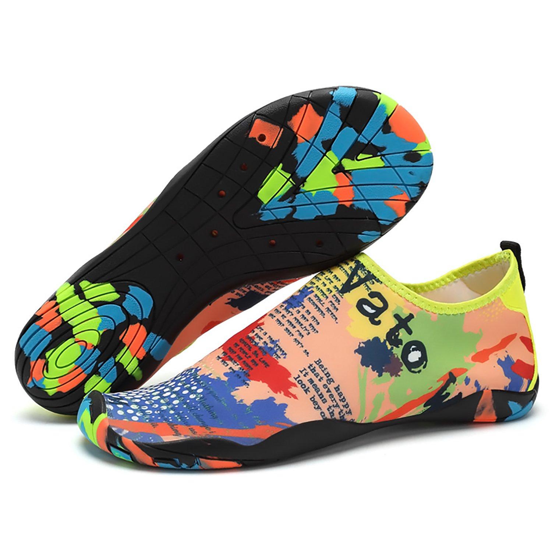 EMMMMMM Mens Womens Unisex Kids Summer Water Shoes Barefoot Shoe Quick Dry Aqua Socks Run Dive Surf Swim Beach Yoga B07CWCLN7G 8.5 D(M) US|Cartooncolor