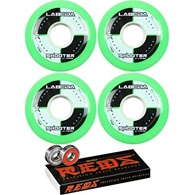 Labeda Shooter Inline Roller Hockey Wheels Green 76mm (4 Pack) with Bones Reds Bearings (68mm) : Sports & Outdoors